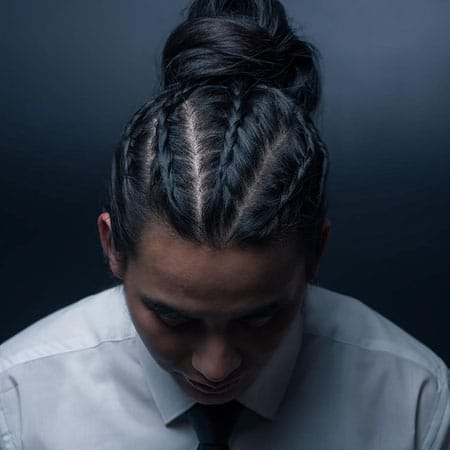 Man Braids with Top Knot