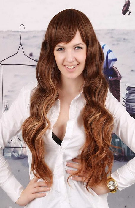 Medium Brown Hair with Blonde and Red Highlights