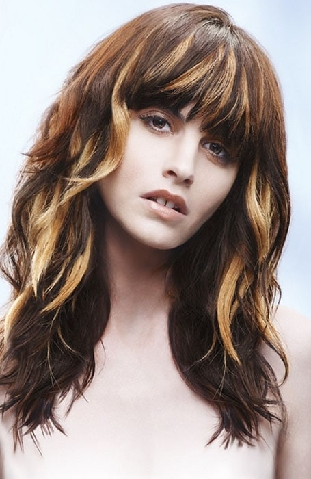 Golden Highlights in Dark Brown Hair