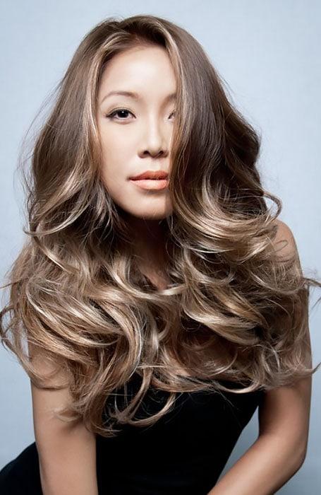 Icy Blonde Highlights in Brown Hair