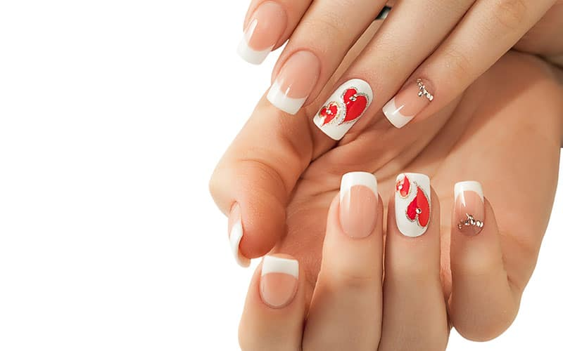 Red Heart Wedding Nails