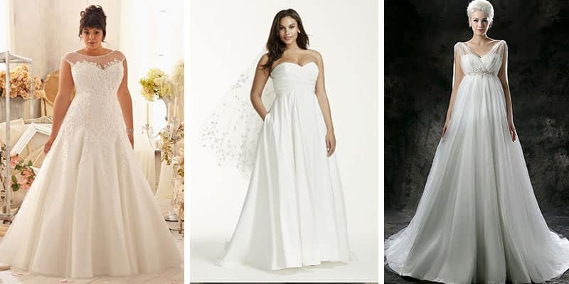 apple shape wedding dresses